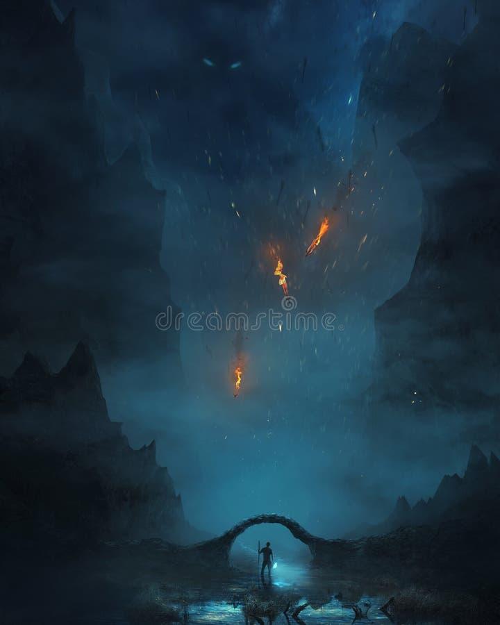 Man walking through darkness royalty free stock images