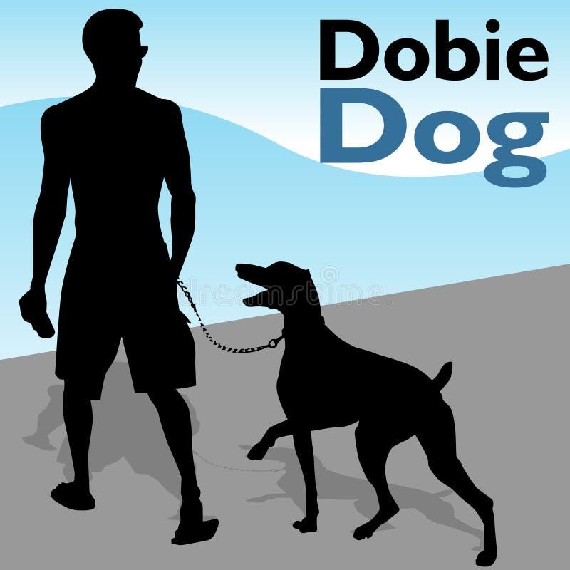 Man Walking Doberman Pinscher Dog royalty free illustration