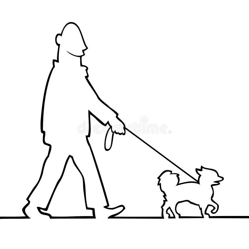 Man walking the dog royalty free stock images
