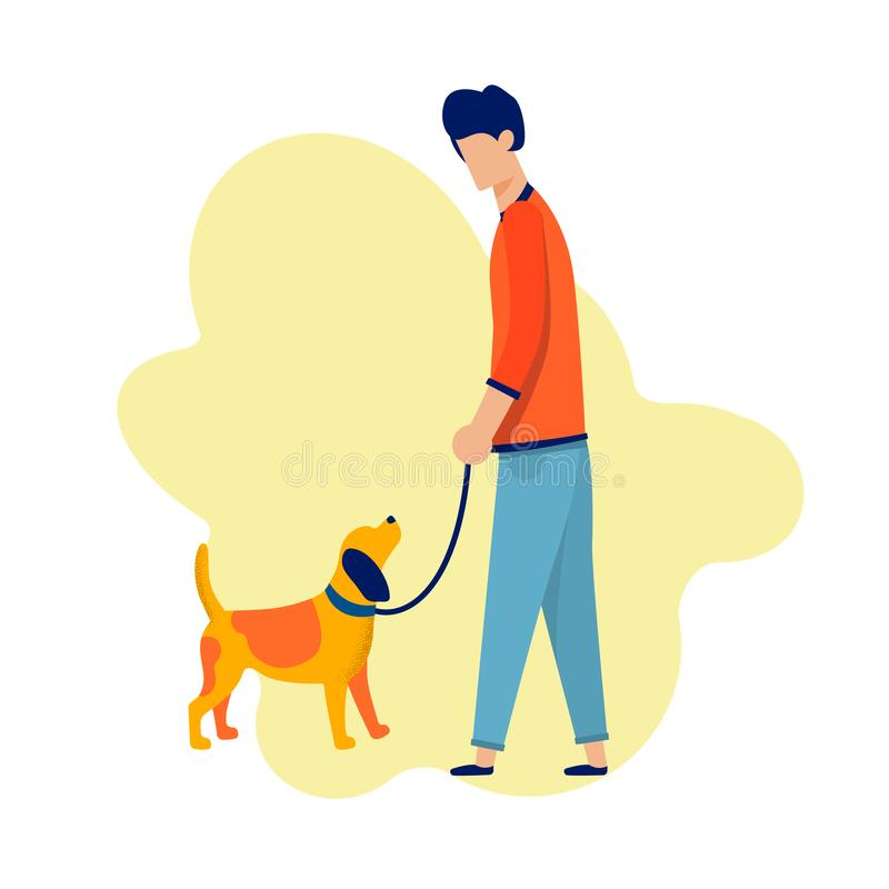 Man Walking with Dog Along Cartoon Illustration. Cartoon Man Character Walking with Dog Along. Dreaming for Love and Relationship. Help and Support in Searching stock illustration