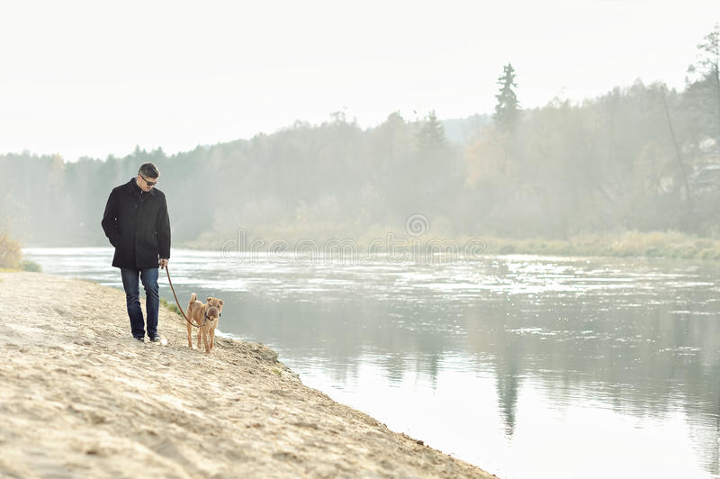Man walking with dog near the river. Outdoors stock images
