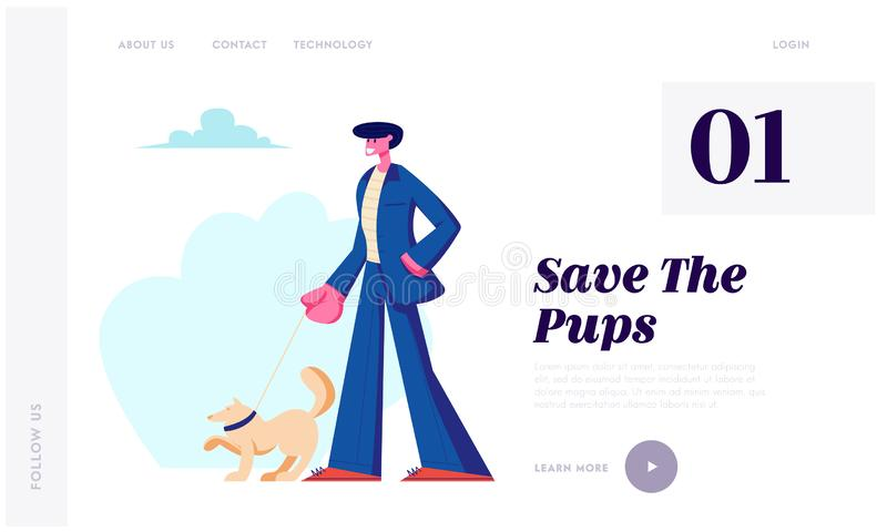 Man Walking with Dog Outdoors. Male Character in Formal Suit Spend Time with Pet, Relaxing with Puppy, People Love Animals Website. Landing Page, Web Page royalty free illustration