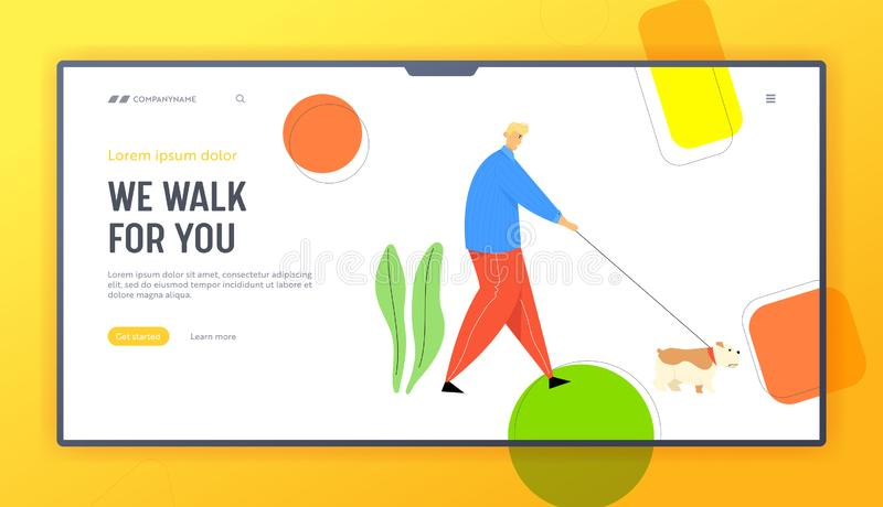 Man Walking with Dog Outdoors on Summertime. Character Spend Time with Bulldog Pet, Relaxing Leisure. Communicating with Animal Website Landing Page, Web Page vector illustration