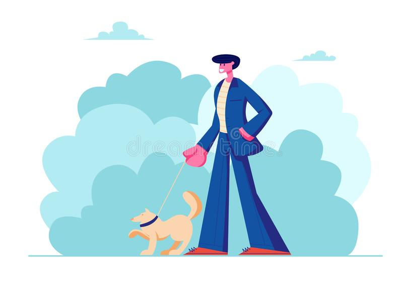 Man Walking with Dog Outdoors on Summertime. Male Character in Formal Suit Spend Time with Pet in Public Park, Relaxing, Leisure. With Puppy, Communicating with vector illustration