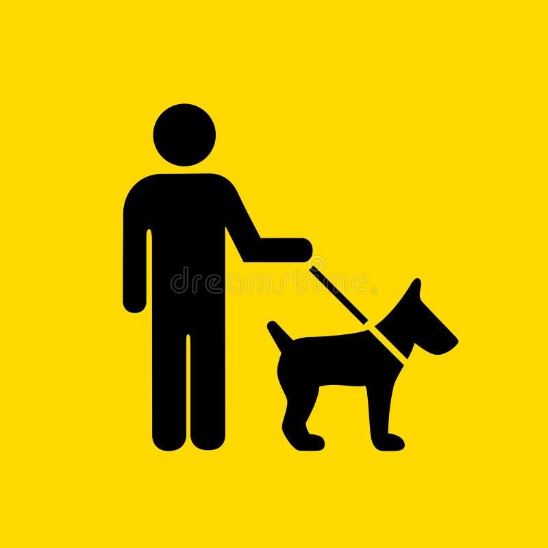 Man walking with dog sign vector illustration