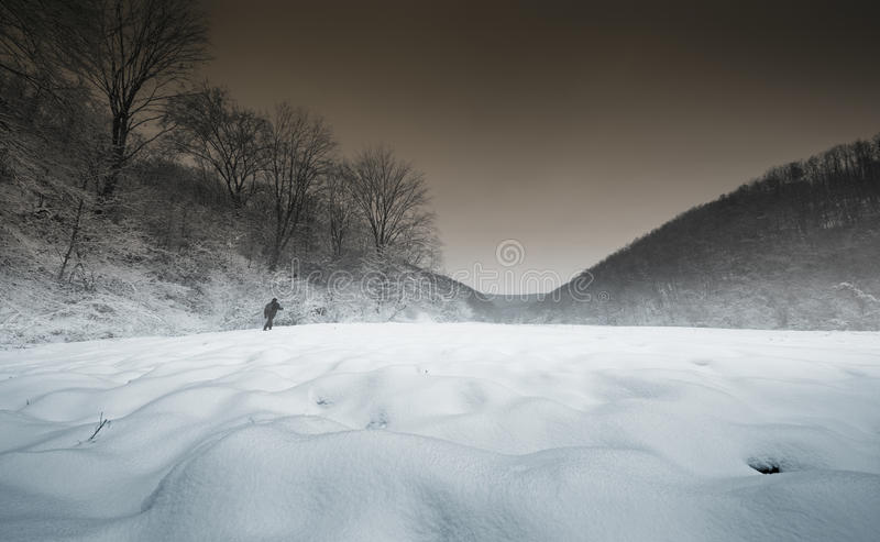 Man walking in an enchanted winter landscape royalty free stock photography