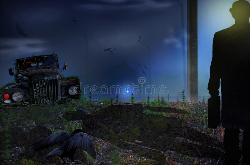 Man walking in a field towards a haunted house with scary dark atmosphere.. Photo manipulation. Sinister scene by night, with Old car in the field , man royalty free stock photos