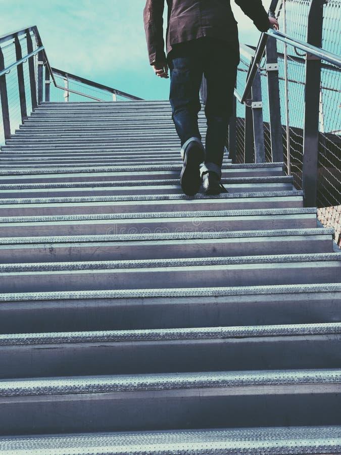 Man Walking On Gray Stairs Free Public Domain Cc0 Image