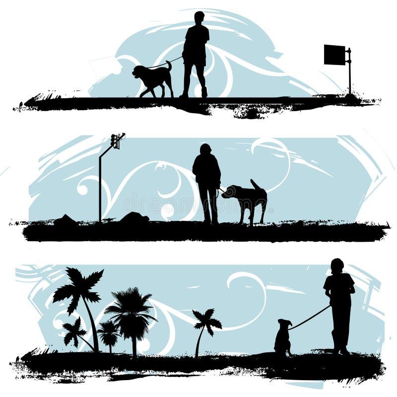 A man walking his dog royalty free illustration