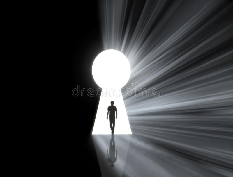 Download Man walking into a keyhole stock photo. Image of hole - 19814368