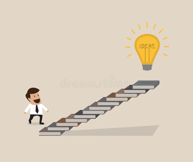 Download Man Is Walking On Ladder To Lightbulb Idea Stock Vector - Illustration: 33029716