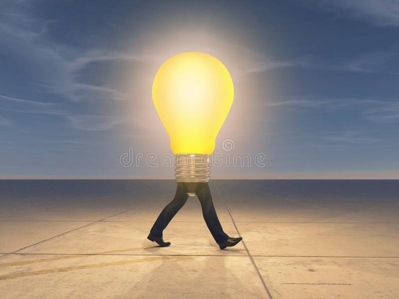 Man walking with a lit lightbulb instead royalty free stock photos