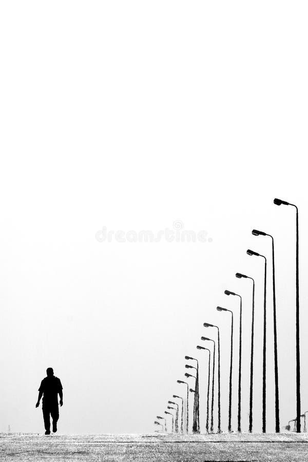 Man Walking Near Aligned Lamp Post Free Public Domain Cc0 Image