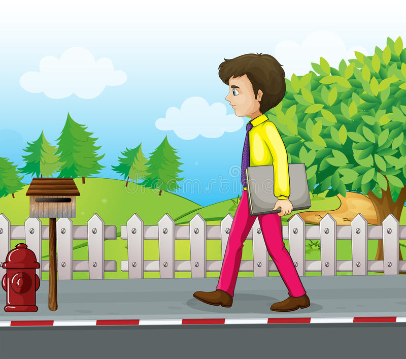 A man walking near the mailbox with a binder in his hand. Illustration of a man walking near the mailbox with a binder in his hand royalty free illustration