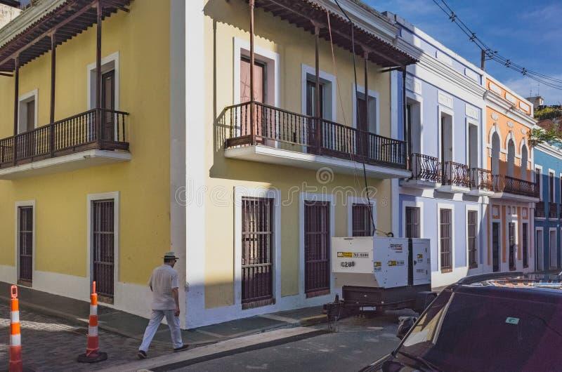 Man walking in Old San Juan stock photo