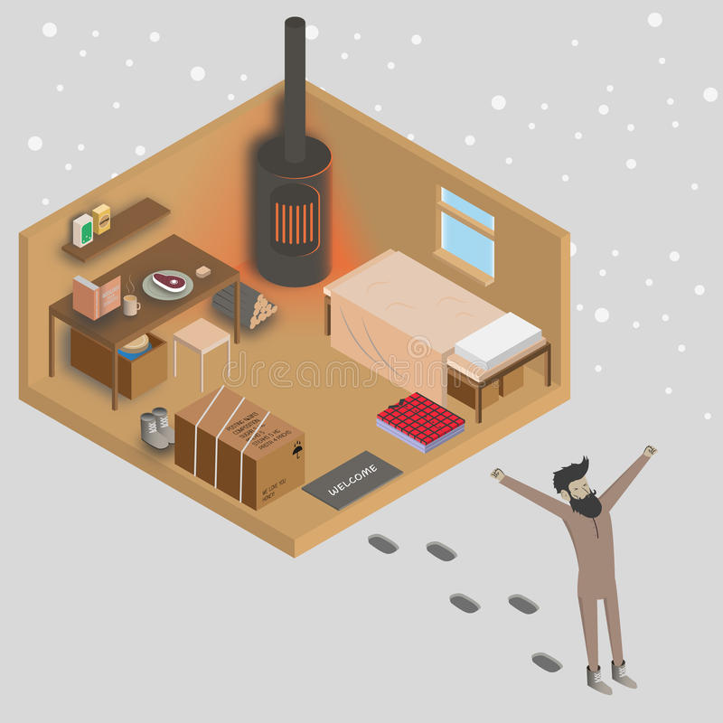 Download Man Walking Out From His House At Morning. 3d Isometric Home  Interior Vector Illustration