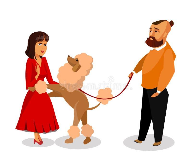 Man Walking with Poodle Cartoon Design Element royalty free illustration