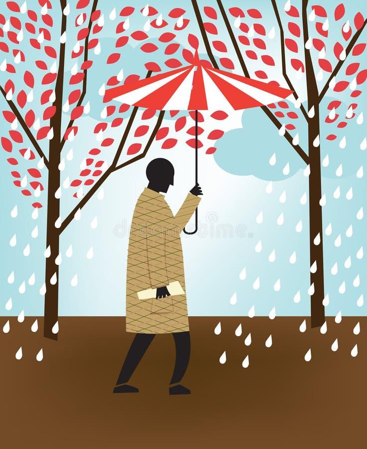 Man walking in rain vector illustration
