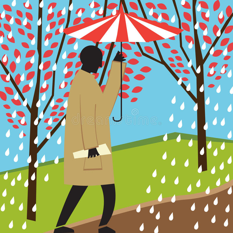 Man walking in rainy day royalty free illustration