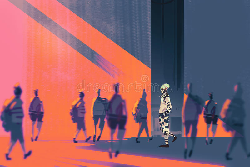 Man walking to different way vector illustration