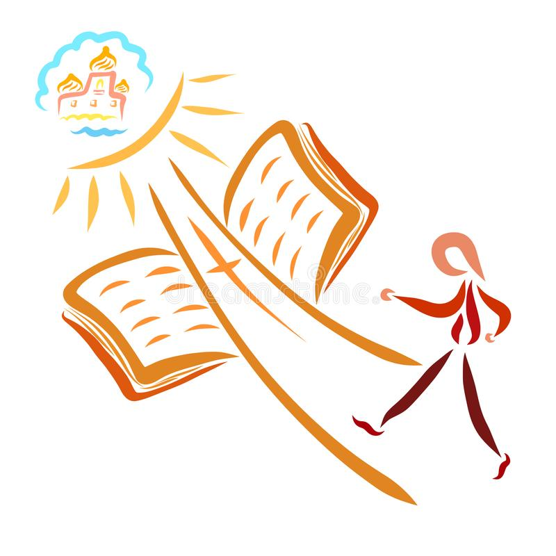 A man walking to Heaven along the way similar to a cross, an ope. N Bible, Jesus is the way stock illustration