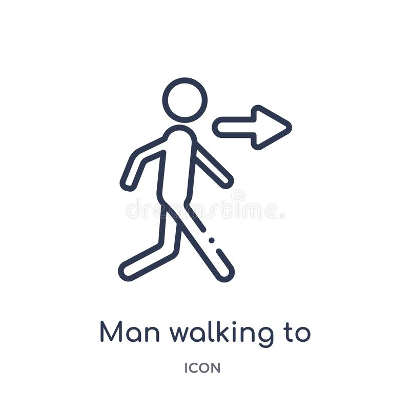 man walking to right icon from ultimate glyphicons outline collection. Thin line man walking to right icon isolated on white royalty free illustration