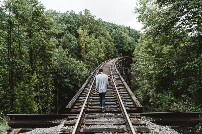 Man Walking On Train Railway In The Middle Of The Woods Free Public Domain Cc0 Image
