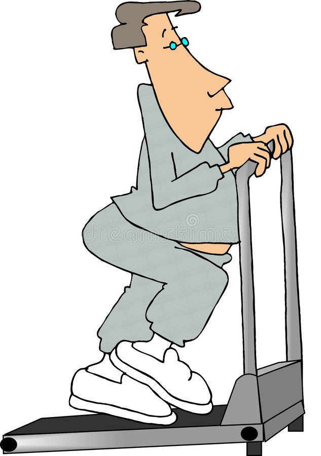 Download Man walking on a treadmill stock illustration. Image of humor - 302934