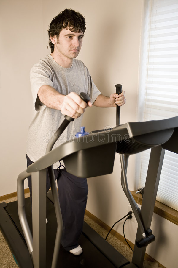 Download Man walking on treadmill stock image. Image of exercise - 7893067
