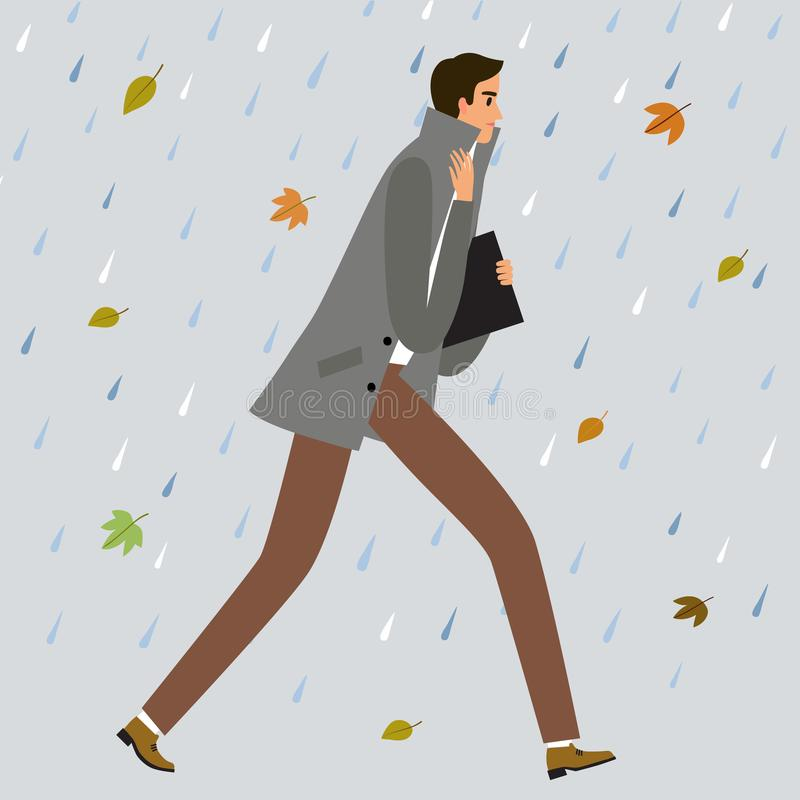 Man running under the cold rain. Man walking under the rain and catch a cold. Cartoon illustration about flu for your design stock illustration