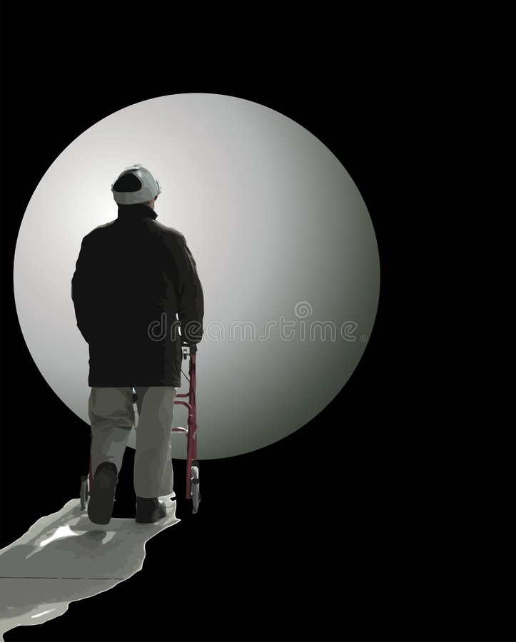 Man walking into the unknown stock image