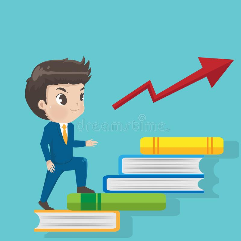 The businessman walk stairs book to success. stock illustration