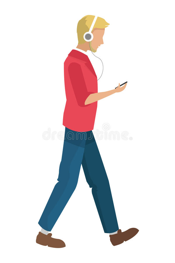 Free Man Walking With Headphones And Holding Cellphone Icon Royalty Free Stock Photography - 73661117