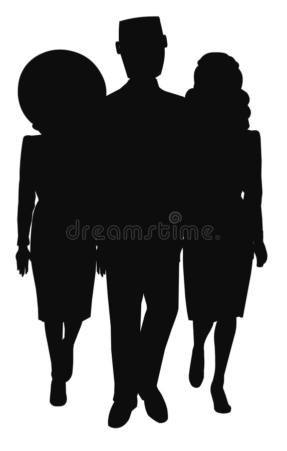Man walking with 2 women in silhouette vector illustration