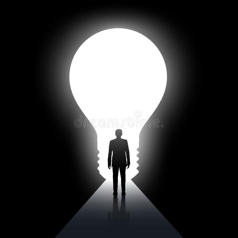 Man walks along the dark corridor. Exit in the form of light bulb. Stock vector illustration. vector illustration