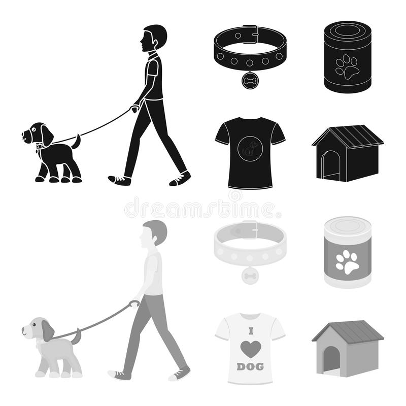 A man walks with a dog, a collar with a medal, food, a T-shirt I love dog.Dog set collection icons in black,monochrom vector illustration