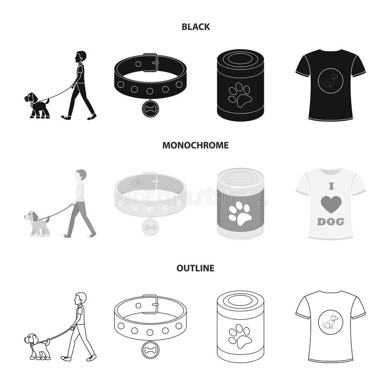 A man walks with a dog, a collar with a medal, food, a T-shirt I love dog.Dog set collection icons in black,monochrome stock illustration