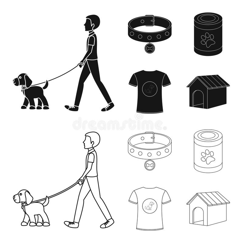 A man walks with a dog, a collar with a medal, food, a T-shirt I love dog.Dog set collection icons in black,outline vector illustration