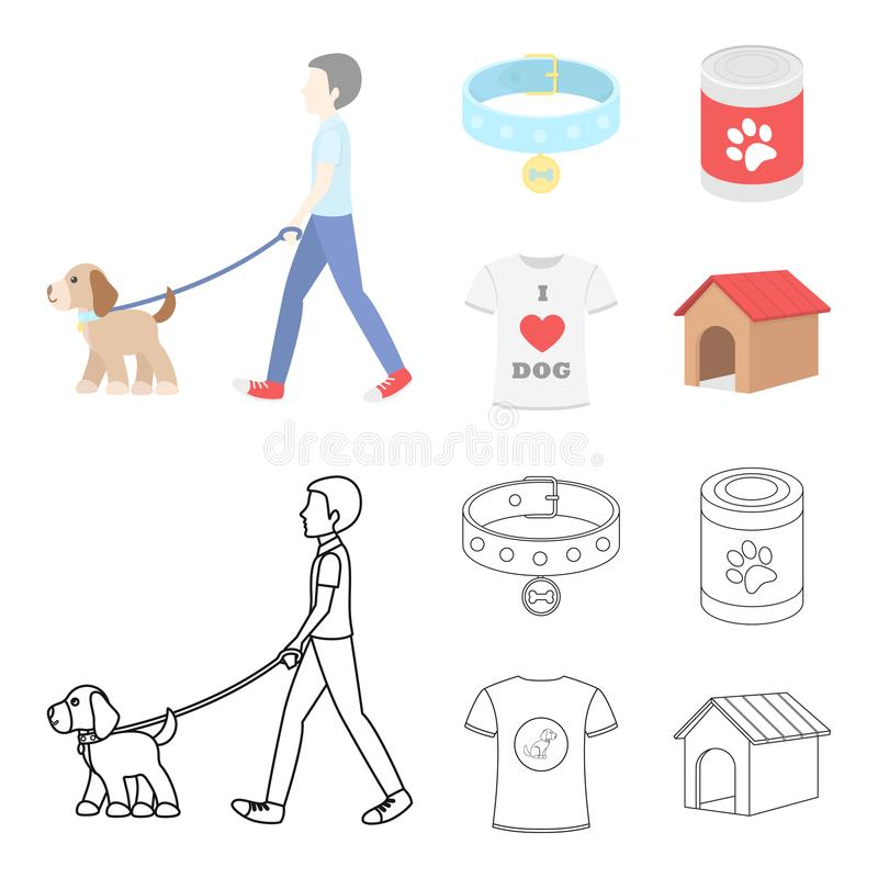 A man walks with a dog, a collar with a medal, food, a T-shirt I love dog.Dog set collection icons in cartoon,outline vector illustration