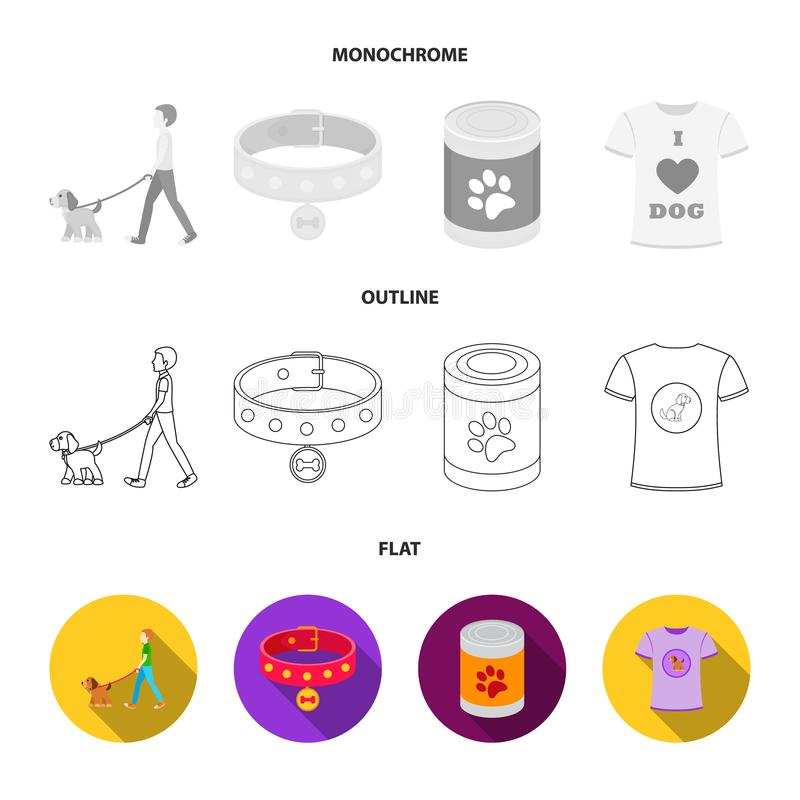 A man walks with a dog, a collar with a medal, food, a T-shirt I love dog.Dog set collection icons in flat,outline royalty free illustration
