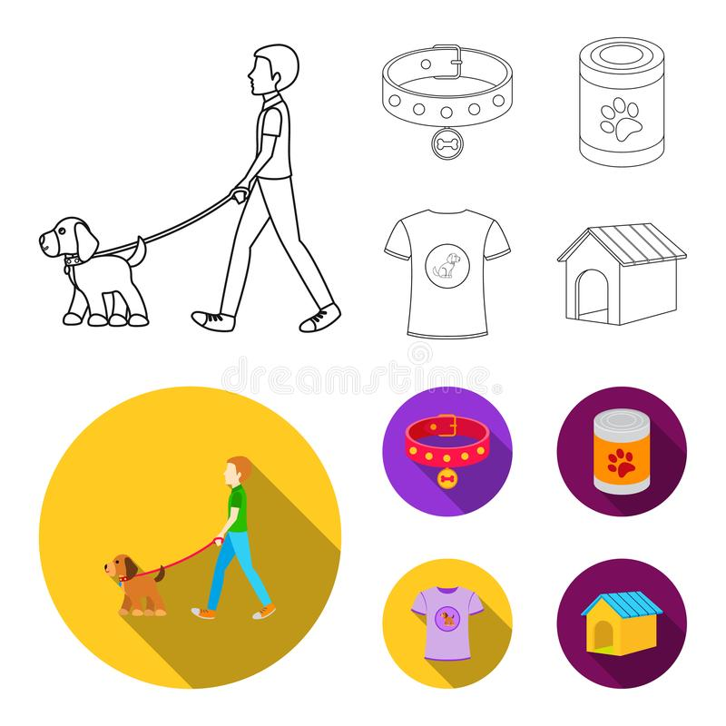 A man walks with a dog, a collar with a medal, food, a T-shirt I love dog.Dog set collection icons in outline,flat style vector illustration