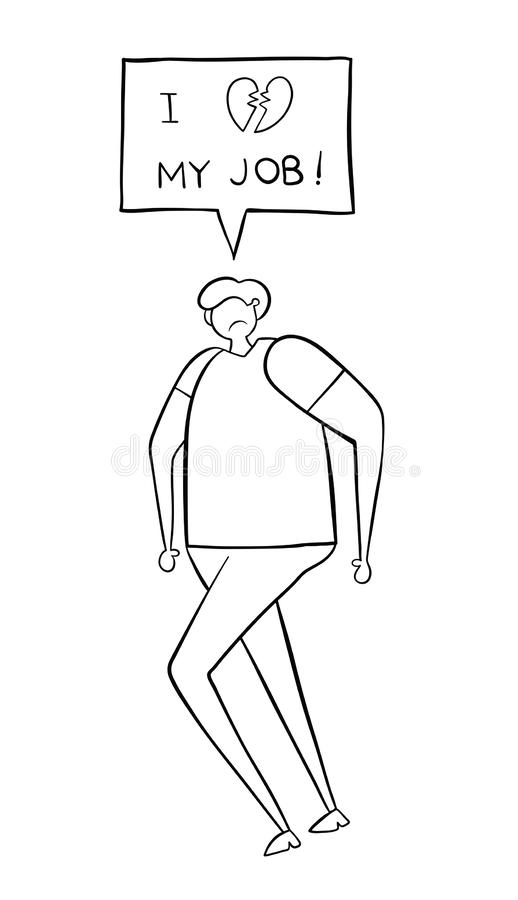 The man walks and says he doesn`t like his job. Black outlines and white vector illustration