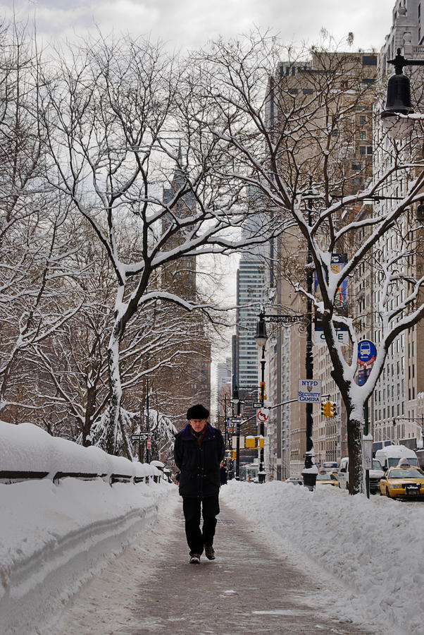 Download A Man Walks In  The Snow, New York City Editorial Stock Image - Image: 18045819
