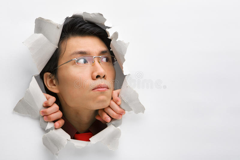 Download Man In Wall Looking Away To Left Side Stock Image - Image: 10130457
