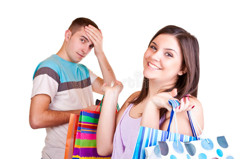 Download Man With Wallet And Woman With Bags Stock Photo - Image: 13380642