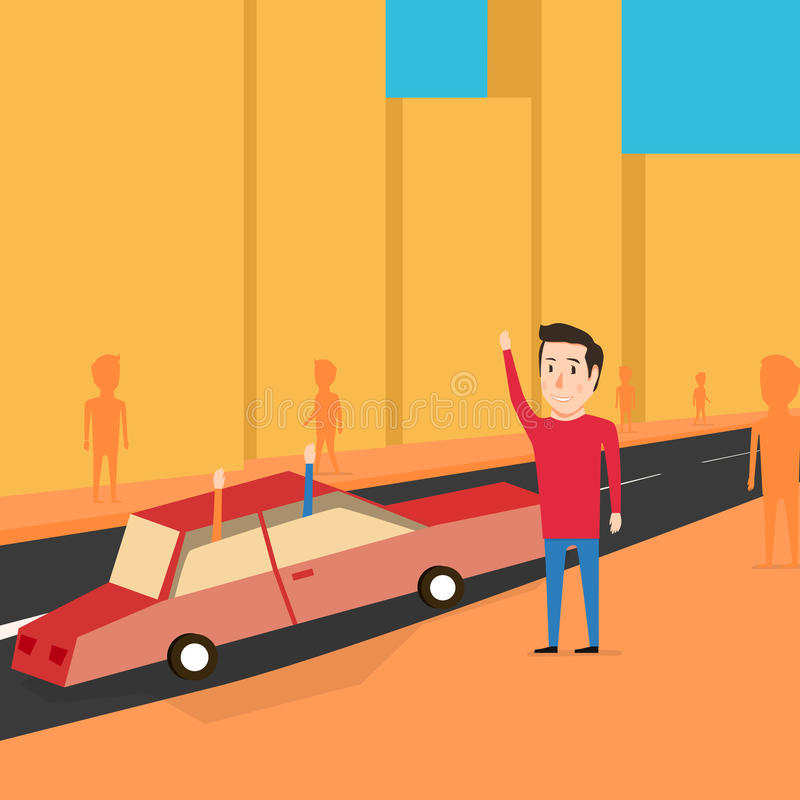 Man want to catch a transport. Greet friends. Man want to catch a transport. Waiting for the car. Cartoon design. Greet friends royalty free illustration
