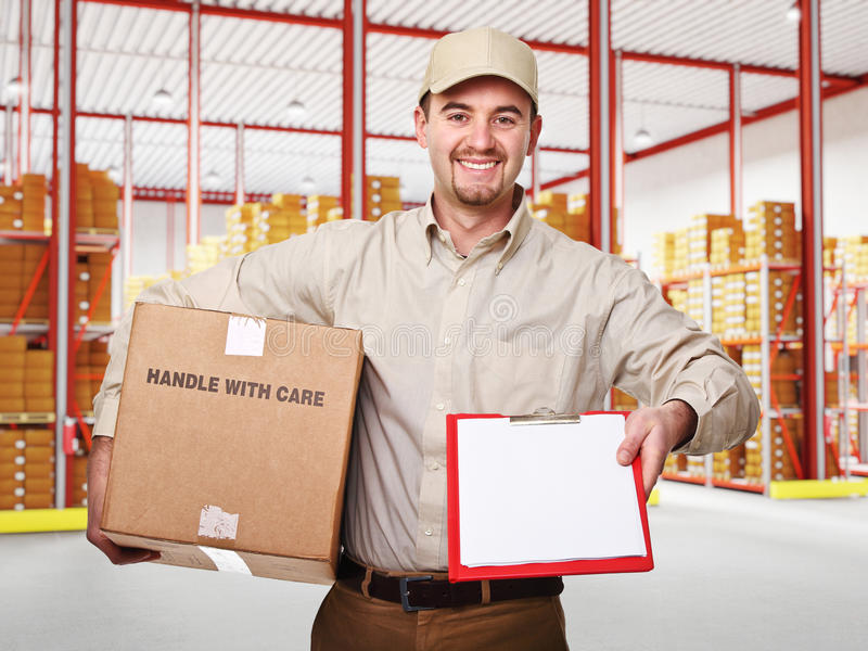 Download Man in warehouse stock photo. Image of casual, man, factory - 27688528