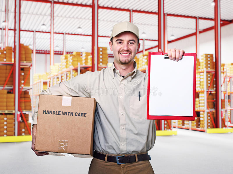 Download Man in warehouse stock image. Image of casual, friendly - 27688547