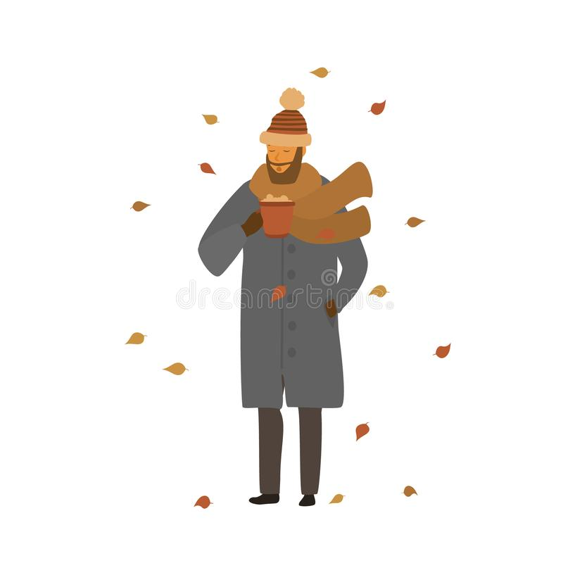 Man warming up with hot drink in a mug in the park under falling dry autumn leaves. Isolated vector illustration scene royalty free illustration