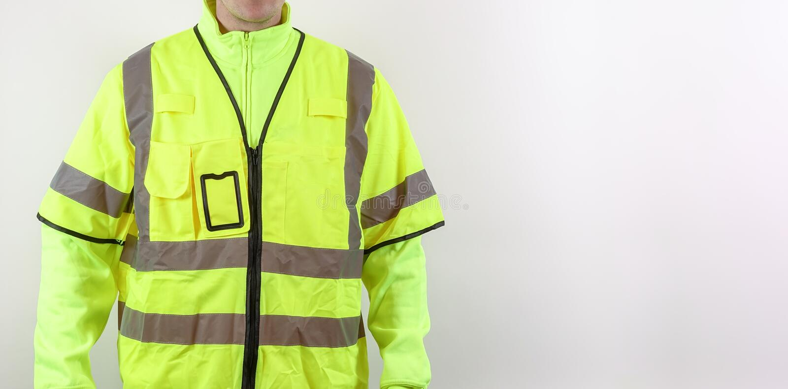 High visibility reflective yellow safety vest royalty free stock photos